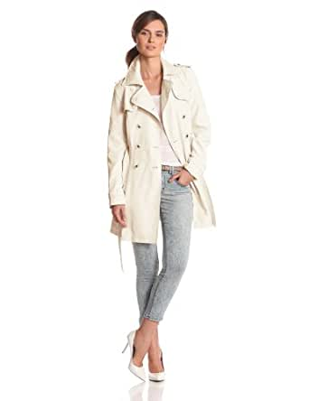 Jessica Simpson Women's Double Breasted Trench, Ivory, X-Small