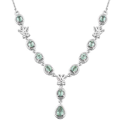 Green Kyanite, White Topaz Platinum Over Sterling Silver Butterfly Drop Necklace KS-77