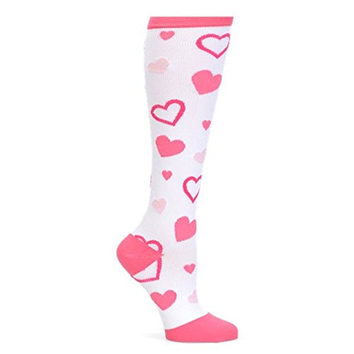 Nurse Mates Women's 12-14 Mmhg Compression Trouser Sock Valentine Hearts (Pink Heart Socks White)