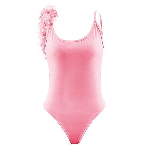 Minetom Mujeres Verano Atractivo Tridimensionales Flores Trajes De Una Pieza Escotado Por Detrás Bañador Bikini Ropa De Playa Rosa