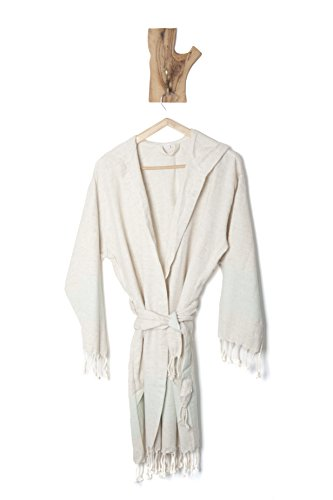 Ahenque Large Size (L), Premium Quality Linen Bathrobe with Hood, Hand-Loomed, Eco-Friendly Turkish Bathrobe, Natural Look Linen Bathrobe Striped with Colors, Unisex Kimono Bathrobe, Turquoise Blue