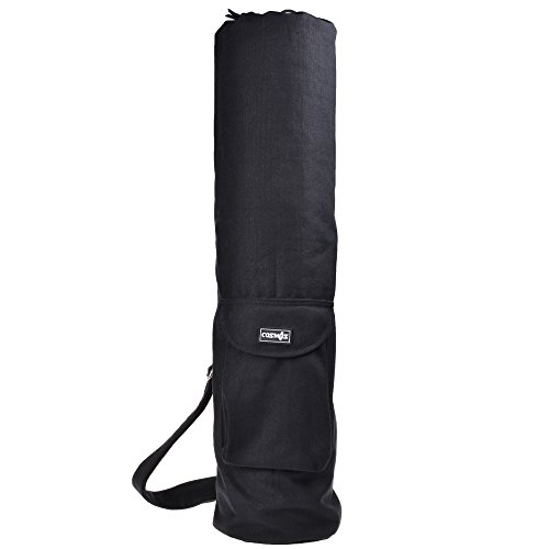 Cosmos® Cotton Exercise Yoga Mat Bag with Front Cargo Pocket - Black