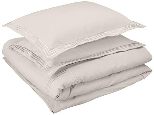 AmazonBasics Embroidered Hotel Stitch Duvet Cover Set - Premium, Soft, Easy-Wash Microfiber - Full/Queen, Light Grey