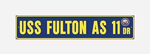 USS FULTON AS 11 Street Sign Aluminum Navy Blue / Yellow 6