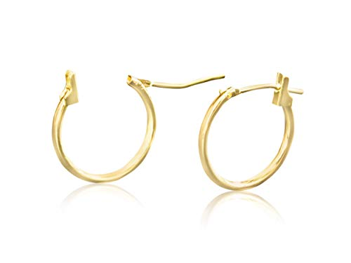 14k Solid Yellow Gold Jewelry Open Round Lobe Large Big Tiny Small Thin Mini 14mm Ear Studs Studs Loop Clicker Huggie Hoop Ring Piercing Earrings For Women Girls Teens Hypoallergenic Nickel Free