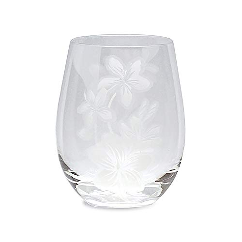 4 Etched Stemless Wine Glasses Plumeria