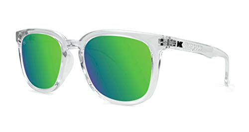Knockaround Paso Robles Unisex Sunglasses With UV400 Protection, Clear Frames/Green Reflective Lenses