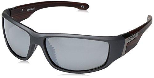 Body Glove Men's Bombie Polarized Wrap Sunglasses, Rubberized Graphite Metallic, 61 ()