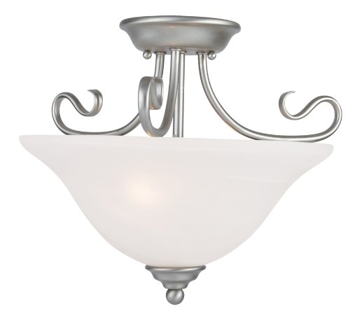 Livex Lighting 6121-91 Coronado 2 Light Brushed Nickel Semi Flush Mount with White Alabaster Glass
