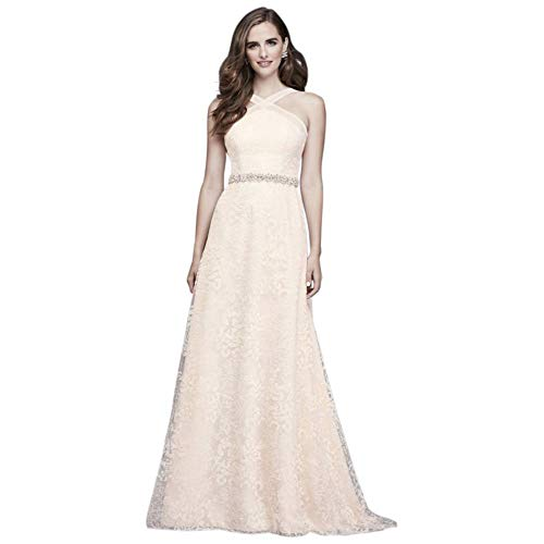 (Allover Embroidered Lace Y-Neck Wedding Dress Style WG3928, Ivory, 14)