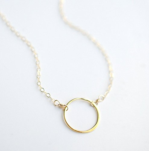 Gold Circle Minimalist Everyday Necklace - 14k Goldfill - 18 Inches (Hand Forged Circle Necklace)