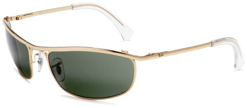 Ray Ban Aviator Wrap Sunglasses - Ray-Ban Men's RB3119 Olympian Wrapped Rectangular Sunglasses, Gold/Green, 59 mm