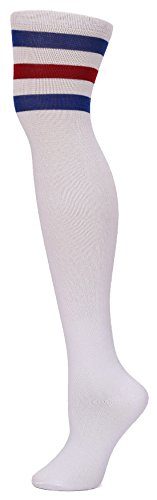 Leotruny Women's Triple Stripes Over the Knee High Socks (White/Blue/Red)