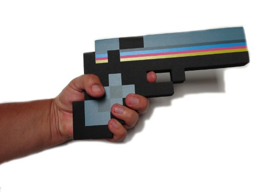 8 Bit Pixelated Costume (8 Bit Pixelated Black Stone Foam Gun Toy 10