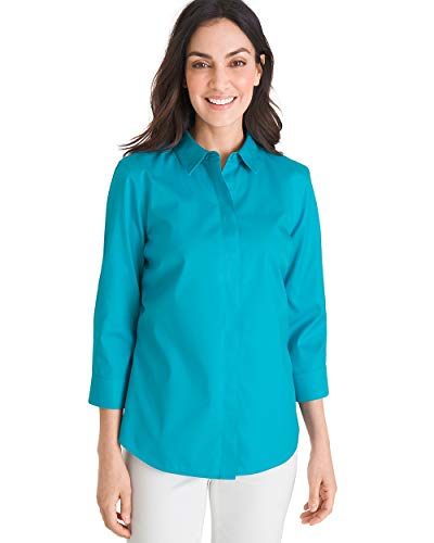Chico's Women's No-Iron Cotton Stain Shield Shirt Size 0/2 XS (00) Blue