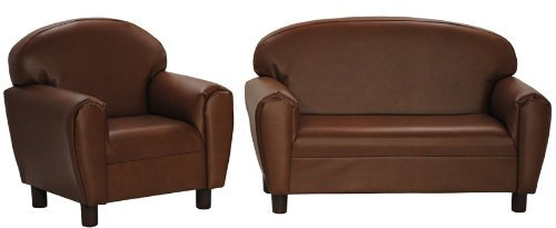 Amazoncom Max Comfort Premier Kids Chair and Sofa Set Brown Faux