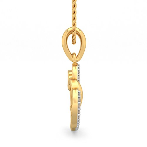 14 K Or jaune 0,1 ct tw Round-cut-diamond (IJ | SI) Pendentif