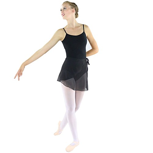 Danzcue Womens Chiffon Ballet Dance Wrap Skirt With Waist Tie, Black, P/S