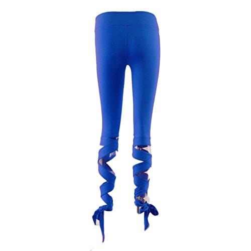 Elegant Frauen Sporthose Yoga Trainingshosen Binggong Jogginghose Damen Fitness Sport Mode Leggings Gym Fitness Hosen Blau beschnitten Strumpfhosen Workout Lounge wR6PfqEWH