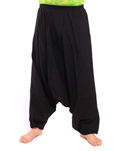 jing shop Low Cut Balloon Harem Pants One Size Cotton Black