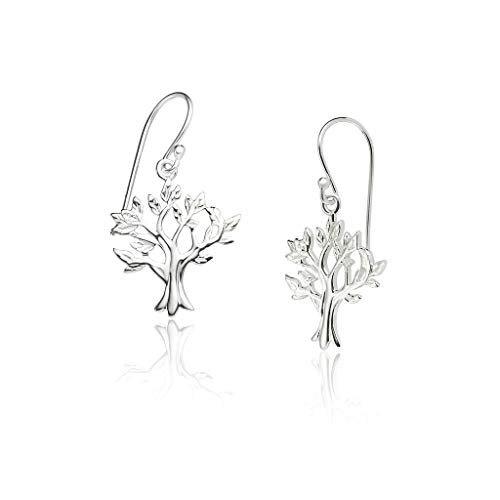Big Apple Hoops - Genuine 925 Sterling Silver ''Beauty of Nature'' Lively Tree of Life for Luck and Love Dangle Hook Earrings Delicate and Unique Design in High Polish Mirror Finish