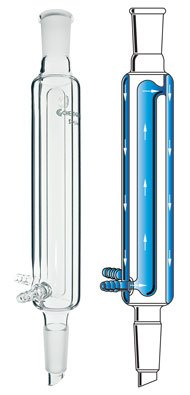 Chemglass CG-1217-A-24 Series CG-1217-A Reflux Double Cooling Condenser 45 mm ID 320 mm Height 24//40 Joint