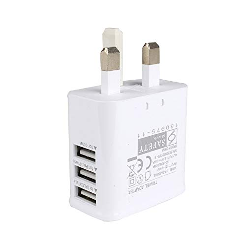 HankuUK Plug 2.4 3-Port USB AC Power Adapter Wall Charger for Ipad/Smart Phone White