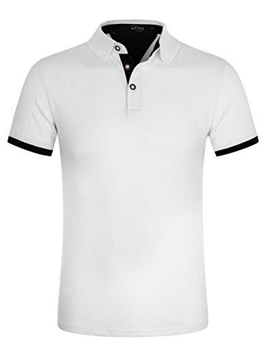 APTRO(アプトロ) ポロシャツ 半袖 メンズ ボーダー柄 開襟シャツ 吸汗速乾 スポーツウェア ゴルフウェア
