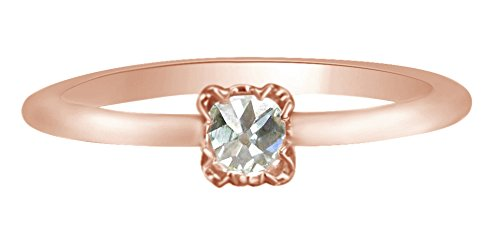 Royal Rose-Shape (Old-Shape) Petite White Diamond Ring 14k Solid Rose Gold (0.24 Cttw, I2-I3, G-H), Ring Size: 7