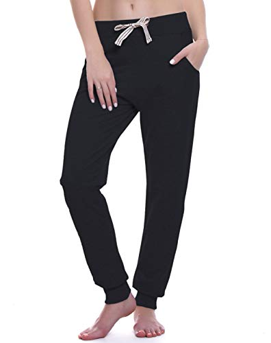 ChinFun Women's Yoga Running Pants Outdoor Lounge Sweat Pants Tapered Side Pockets(Black, L)