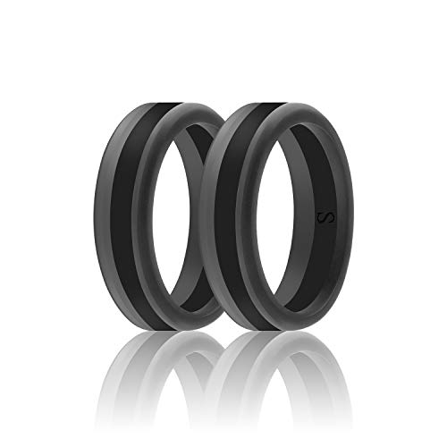 SANXIULY Men's Functional Silicone Ring&Rubber Wedding Bands for Workout and Sports Width 8mm Pack of 2 Size - Wedding Diamond Band Hammered