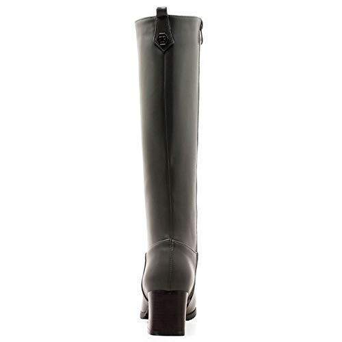 Mode Femmes Gris Boots Genou Hautes Bottes Équitation Taoffen 4zP5nRq5