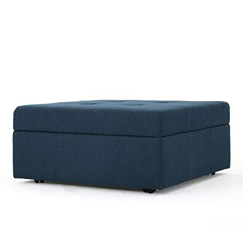 Christopher Knight Home Living Channing Navy Blue Fabric Tufted Cover Storage Ottoman