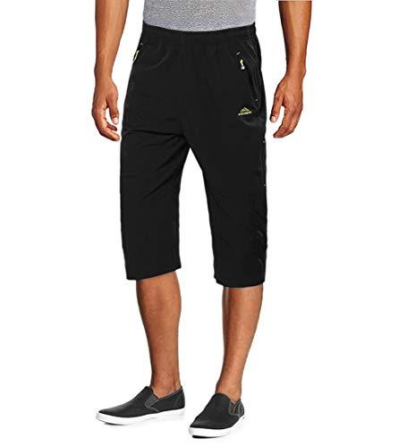 MAGCOMSEN Capri Pants for Men Quick Dry Hiking Shorts with Pockets 3/4 Pants Capri Pants Black - Capri Dry
