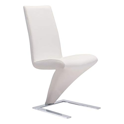 "Zuo Modern 100284 Herron Dining Chair (Set of 2), White, Cantilever Design, Upholstered in Soft Leatherette Angled Bottom to Plush Seat, Stainless Steel Back in a ""u"" Shape Geometric Pattern"