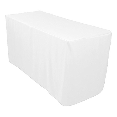 Craft and Party 6 ft Fitted Rectangular Polyester Tablecloth, Fitted 30 by 72. (White)