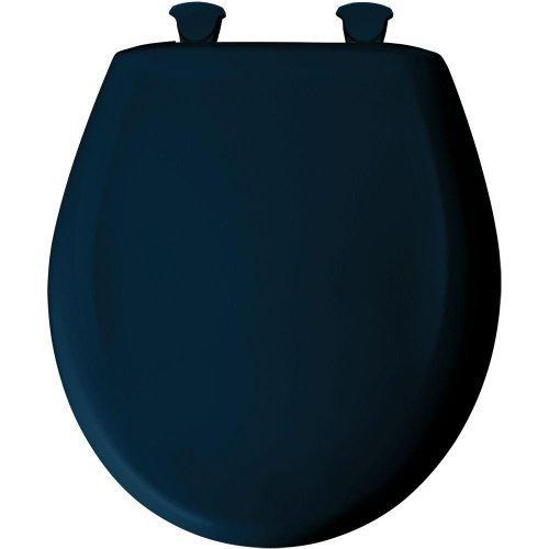 Bemis 200SLOWT 244 Slow Close Sta-Tite Round Closed Front Toilet Seat, Navy (Navy Round Front Toilet Seat)