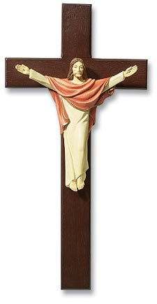 13 Inches High, Tomaso Risen Christ Cross Crucifix Hand Painted Wood Resin