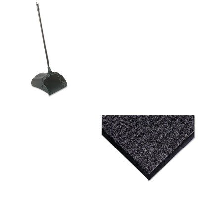 KITCWNCS0035GYRCP253100BK - Value Kit - Crown Cross-Over Indoor/Outdoor Wiper/Scraper Mat (CWNCS0035GY) and Rubbermaid-Black Lobby Pro Upright Dust Pan, Open Style (RCP253100BK) by Crown
