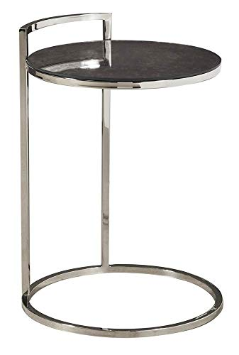 (Pulaski DS-D191-249 Contemporary Round Stainless Steel and Glass Side Table Silver)
