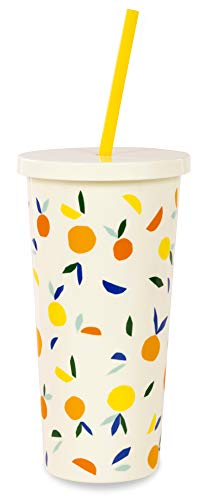 - Kate Spade New York Insulated Tumbler with Reusable Silicone Straw, 20 Ounces, Citrus Twist
