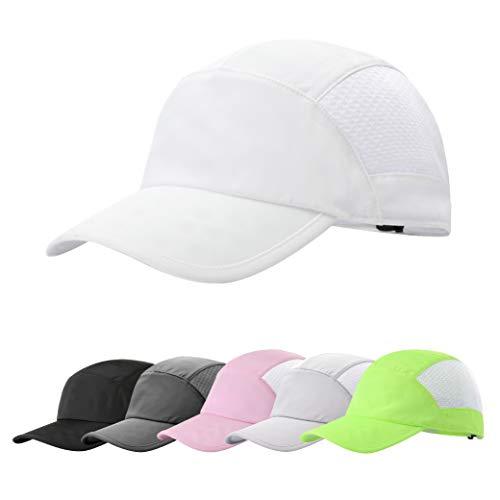 ZOWYA Unisex Sport Cap Running Cap Summer Breathable Quick Dry Mesh Baseball Cap Sun Hat for Men&Women White