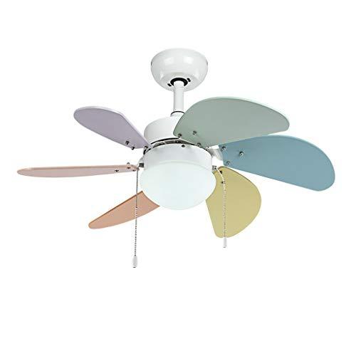 (BingWS Ceiling Fan Light Children's Room Fan Light 30 Inch Multicolor 6 Leaf Ceiling Fan Light LED Bedroom Fan Chandelier Living Room (Color : Pull Wire, Size : 24W) )
