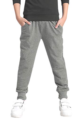 Welity Kids Cotton Pull On Active Sports Jogger Track Sweat Pants for Little Boys, Grey, Age 8T-9T (8-9 Years) = Tag 140