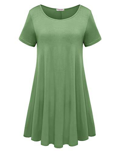 BELAROI Womens Comfy Swing Tunic Short Sleeve Solid T-Shirt Dress (L, ()