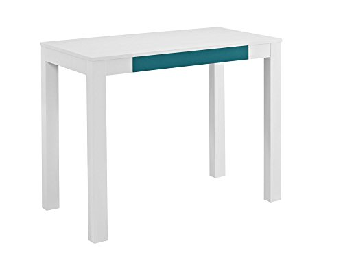 Altra Parsons Desk with Drawer, White/Teal (Small Office Desk)