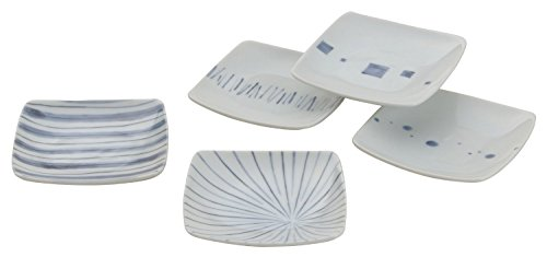 - Saikai Pottery Traditional Japanese Blue patterns small square plates (5 plates!) 31797 from Japan