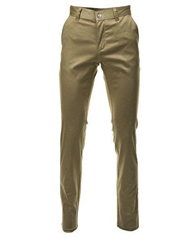 FLATSEVEN Mens Slim Fit Chino Pants Trouser Premium Cotton