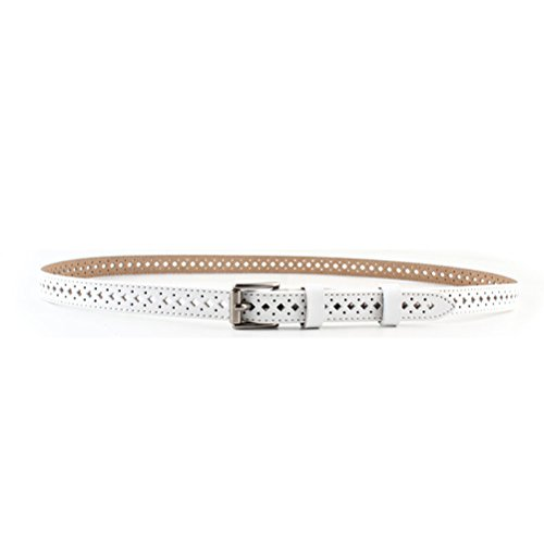 Ladies Slim Belt - Nanxson(TM) Women's/ Girls' Fashion Style Elegant Hollowed Decorative Slim Waist Band/ Belt PDW0080 (white)