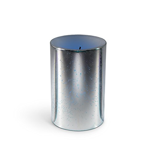 "The Gerson Company 4"" D x 6"" H Glow Wick(R) Wax Candle with Galaxy Effect and Color Changing LED and Timer, Silver"